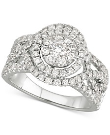 Diamond Halo Cluster Openwork Engagement Ring (1-1/2 ct. t.w.) in 14k White Gold