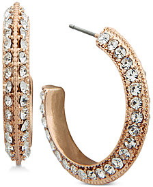 "Anne Klein Pavé Open 1"" Hoop Earrings"