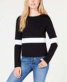 Bar III Striped Sweatshirt, Created for Macy's