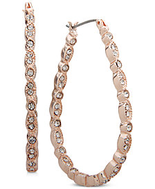 Anne Klein Rose Gold-Tone Pavé Oval Hoop Earrings