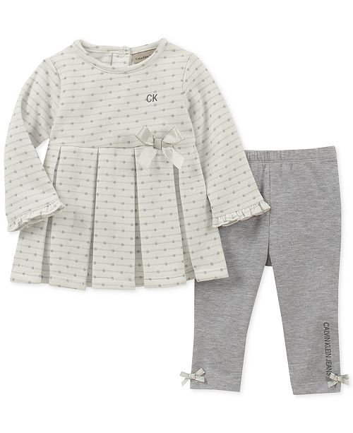 0f3f42cb7010 Calvin Klein Baby Girls 2-Pc. Bow Tunic & Leggings Set & Reviews ...