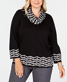 Alfred Dunner Plus Size Sutton Place Zigzag Border Sweater