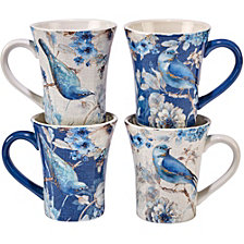 Certified International Indigold Bird Mugs, Set of 4