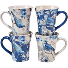 Certified International Indigold Bird Mugs, Set of 4