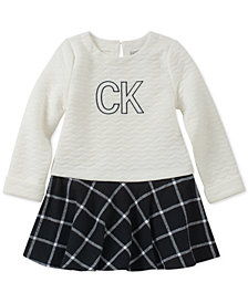 Calvin Klein Baby Girls Quilted Plaid Dress