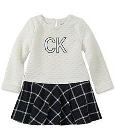 Calvin Klein Baby Girls Quilted Plaid Dress