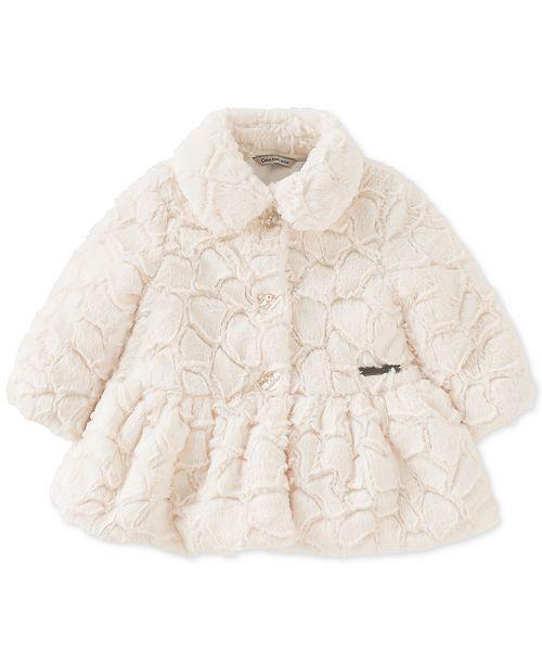 0b150b3ab Calvin Klein Baby Girls Crackled Faux-Fur Coat   Reviews - Coats ...
