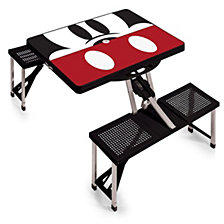Picnic Time Mickey Mouse Silhouette Picnic Table Portable Folding Table with Seats