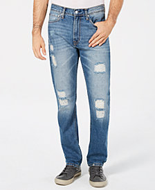 Calvin Klein Jeans Men's Straight Fit Ripped Jeans