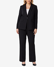 Tahari ASL Plus Size One-Button Striped Pantsuit