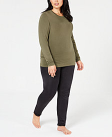 Cuddl Duds Plus Size Softwear Crew-Neck Top & Leggings