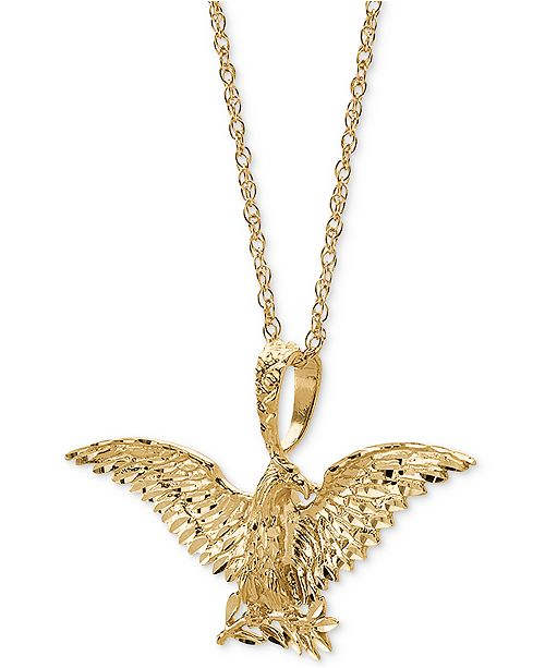 "Macy's Men's Eagle 24"" Pendant Necklace in 10k Gold"