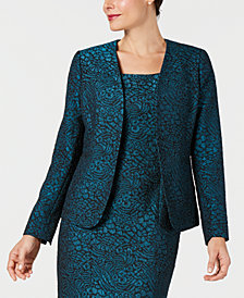 Kasper Metallic Jacquard Animal-Print Jacket
