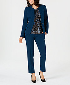 Kasper One-Button Blazer, Printed Shell & Straight-Leg Pants