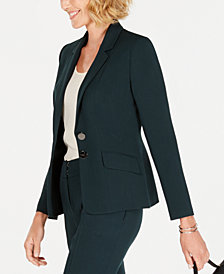 Kasper Petite Two-Button Stretch Crepe Jacket