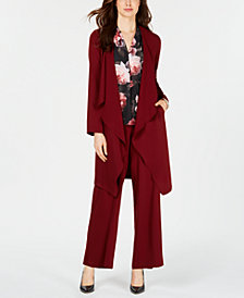 Nine West Topper Jacket, Pleated Shell & Flare-Leg Pants