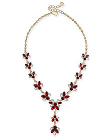 """Charter Club Gold-Tone Crystal & Stone Lariat Necklace, 17"""" + 2"""" extender, Created for Macy's"""