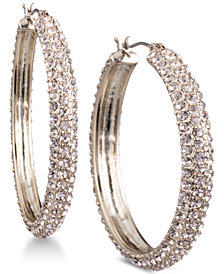 "DKNY Micro-Pavé 1 2/3"" Hoop Earrings, Created for Macy's"