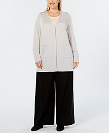 Eileen Fisher Plus Size Merino Wool Snap-Button Cardigan