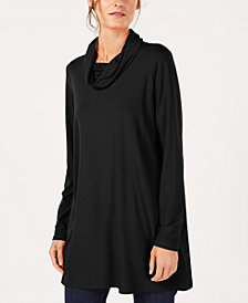 Eileen Fisher Stretch Jersey Draped Funnel-Neck Tunic