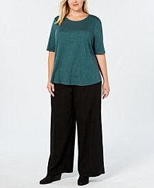 Eileen Fisher Plus Size Organic Cotton Crew-Neck Top