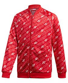 adidas Big Boys Originals Monogram-Print Zip-Up Track Jacket