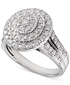 Diamond Oval Halo Ring (1 ct. t.w.) in 14k White Gold