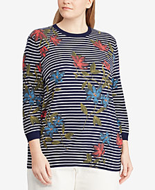 Lauren Ralph Lauren Plus Size Floral-Print Knit Top