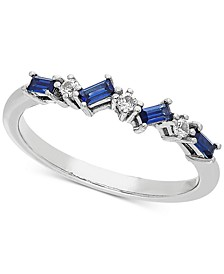 Lab-Created Sapphire (3/8 ct. t.w.) & White Sapphire Accent Stacking Ring in Sterling Silver (Also available in Lab-Created Ruby)