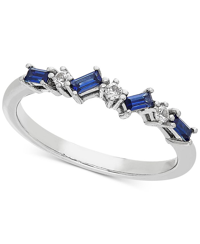 Macy's - Lab-Created Sapphire (3/8 ct. t.w.) & White Sapphire Accent Ring in Sterling Silver (Also available in Lab-Created Ruby)