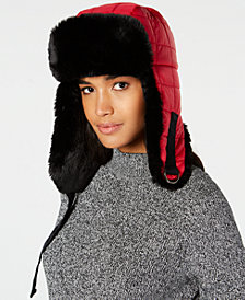 DKNY Quilted Faux-Fur Trapper Hat, Created for Macy's