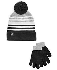 Berkshire Little & Big Boys 2-Pc. Striped Hat & Gloves Set