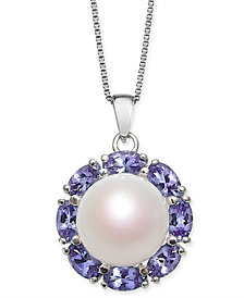 "Cultured White Freshwater Pearl (10mm) & Tanzanite (2 ct. t.w.) 18"" Pendant Necklace in Sterling Silver"