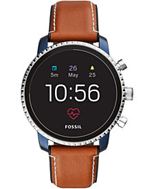 Fossil New Q Men's Explorist Gen 4 HR Brown Leather Strap Touchscreen Smart Watch 45mm