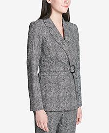 Calvin Klein Printed Belted Blazer