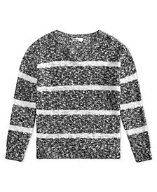 Epic Threads Big Girls Marled Striped Sweater, Created for Macy's