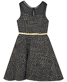 Rare Editions Little Girls Illusion Tweed Fit & Flare Dress