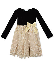 Rare Editions Toddler Girls Velvet Embroidered Dress