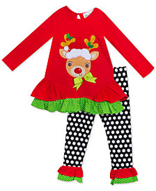Rare Editions Little Girls 2-Pc. Reindeer Tunic & Leggings Set
