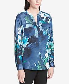 Calvin Klein Printed Split-Neck Roll-Tab-Sleeve Top