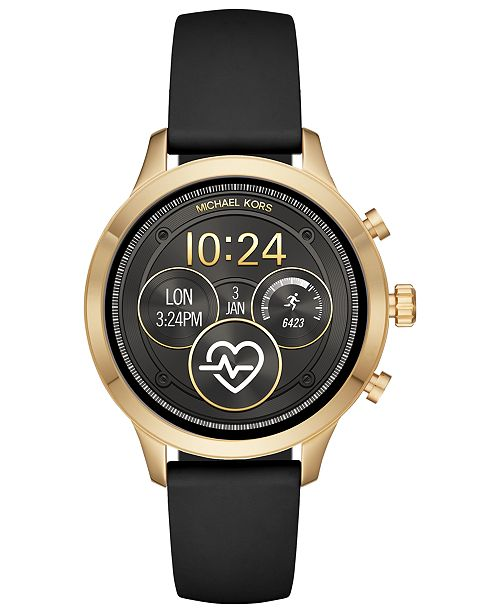 ca7ad4c6e42b ... Michael Kors Access Unisex Runway Black Silicone Strap Touchscreen  Smart Watch 41mm ...