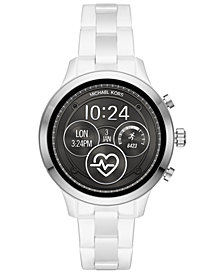 Michael Kors Access Unisex Runway White Ceramic Bracelet Touchscreen Smart Watch 44mm