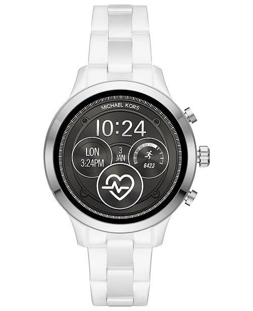 9af565b56669 Michael Kors Access Unisex Runway White Ceramic Bracelet Touchscreen Smart  Watch 44mm ...