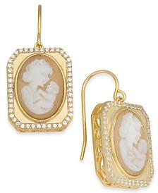 Cornelian Shell, Agate & Diamond (1/3 ct. t.w.) Mother & Child Cameo Drop Earrings in 14k Gold