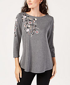 JM Collection Embroidered Boat-Neck Top, Created for Macy's