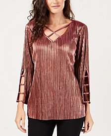 JM Collection Petite Pleated Metallic Top, Created for Macy's