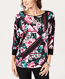 JM Collection Studded Floral-Print Top, Created for Macy's