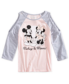 Disney Big Girls Mickey & Minnie Cold-Shoulder Shirt