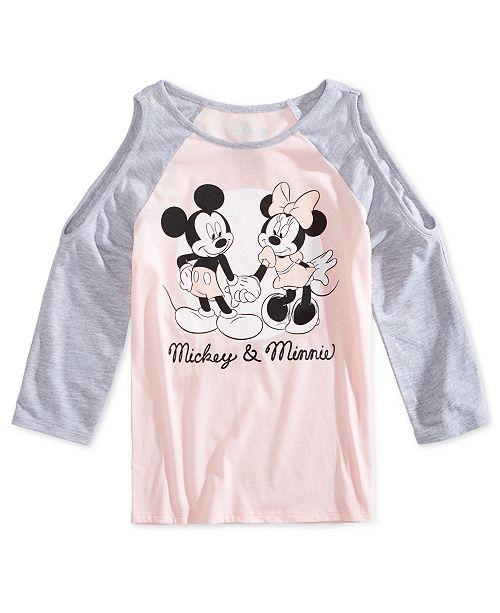 013d1016 Disney Big Girls Mickey & Minnie Cold-Shoulder Shirt & Reviews ...