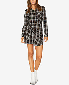 Sanctuary Ani Plaid Tie-Front Shirtdress
